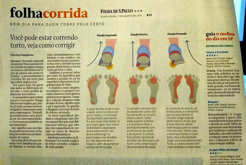 Jornal Folha de S.Paulo com publicação sobre tipos de pisada